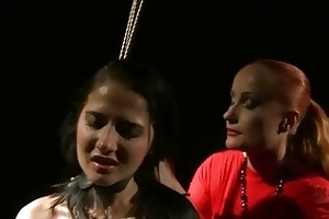 stylish mistresse punishing juvenile slavegirl
