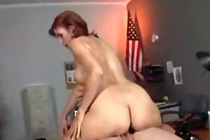 hot mature cougar bonks in office