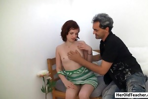 old cameraman with youthful girl