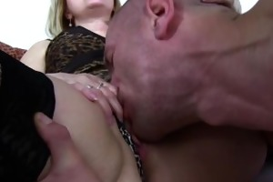 mature maid fucks son on daybed after catching