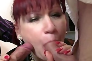 older office whore enjoys two knobs