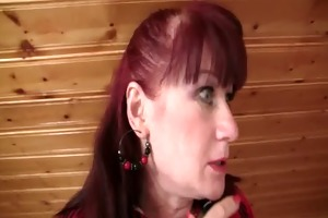 lewd mother-in-law toying her bald slit then