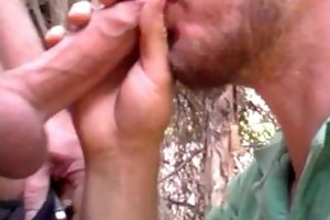 hung uncut shaggy daddy in the park blows on my