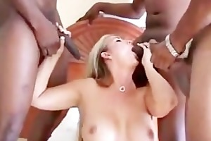 chunky golden-haired slut creampied by two