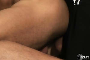 muscular man in a suit copulates younger slut in