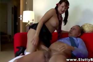 large titted babe engulfing and fucking with this