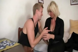 old blond is doggy position fucked