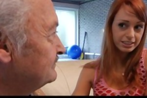 aged guy in an audition with erika fontess wet