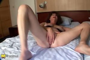bald older mother masturbate with banana