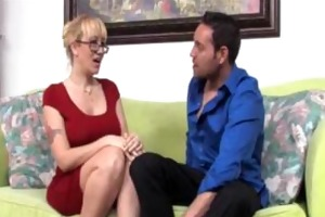 lascivious milf jerks off a young stud