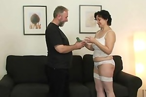 her old curly pussy is toyed and banged