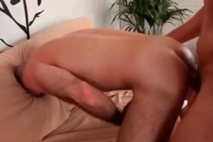 sexy bf receives his wazoo fucked on couch part4