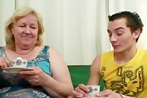 massive granny is gangbanged by her son on law