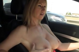 breasty floozy drives around