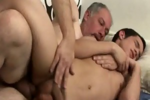 unrepining boy takes older shaft and a thick load