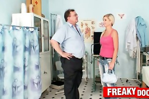 awesome blond vanessa hell weird muff exam on