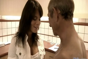 young female doctor acquires horny for grandpa
