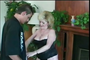 insane blond granny with younger guy