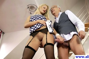 juvenile euro slut plays with old mans dick