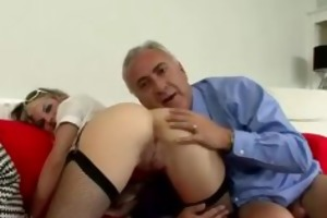 stockings blond sucks and fucks old man