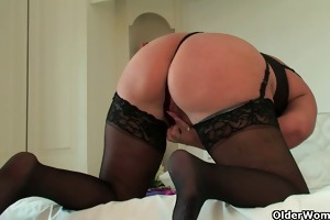 curvy granny in black nylons rubs her old love