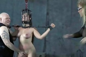 old bdsm masters whipping of handcuffed villein