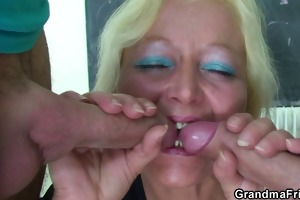 mature teacher drilled by her students