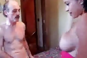 instatible latina grabbing old chap cock