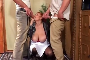 2 youthful fellows double team saggy tittied