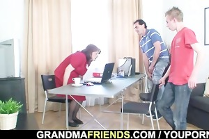 encounter in the office ends up threesome fucking