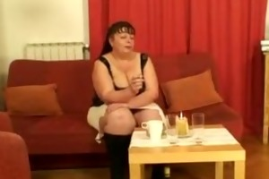 chunky mature babe takes two young weenies from