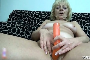 nasty old woman goes crazy rubbing part1