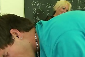 perverted old teacher takes two jocks