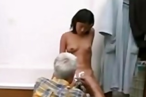old fellow and youthful asian hottie